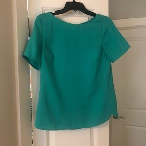 Teal blouse with back cut-out